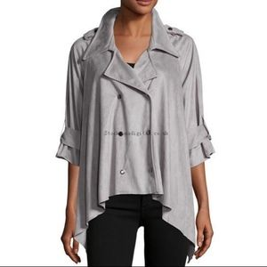 Anthropologie AMADI Gray Suede Oversized Jacket